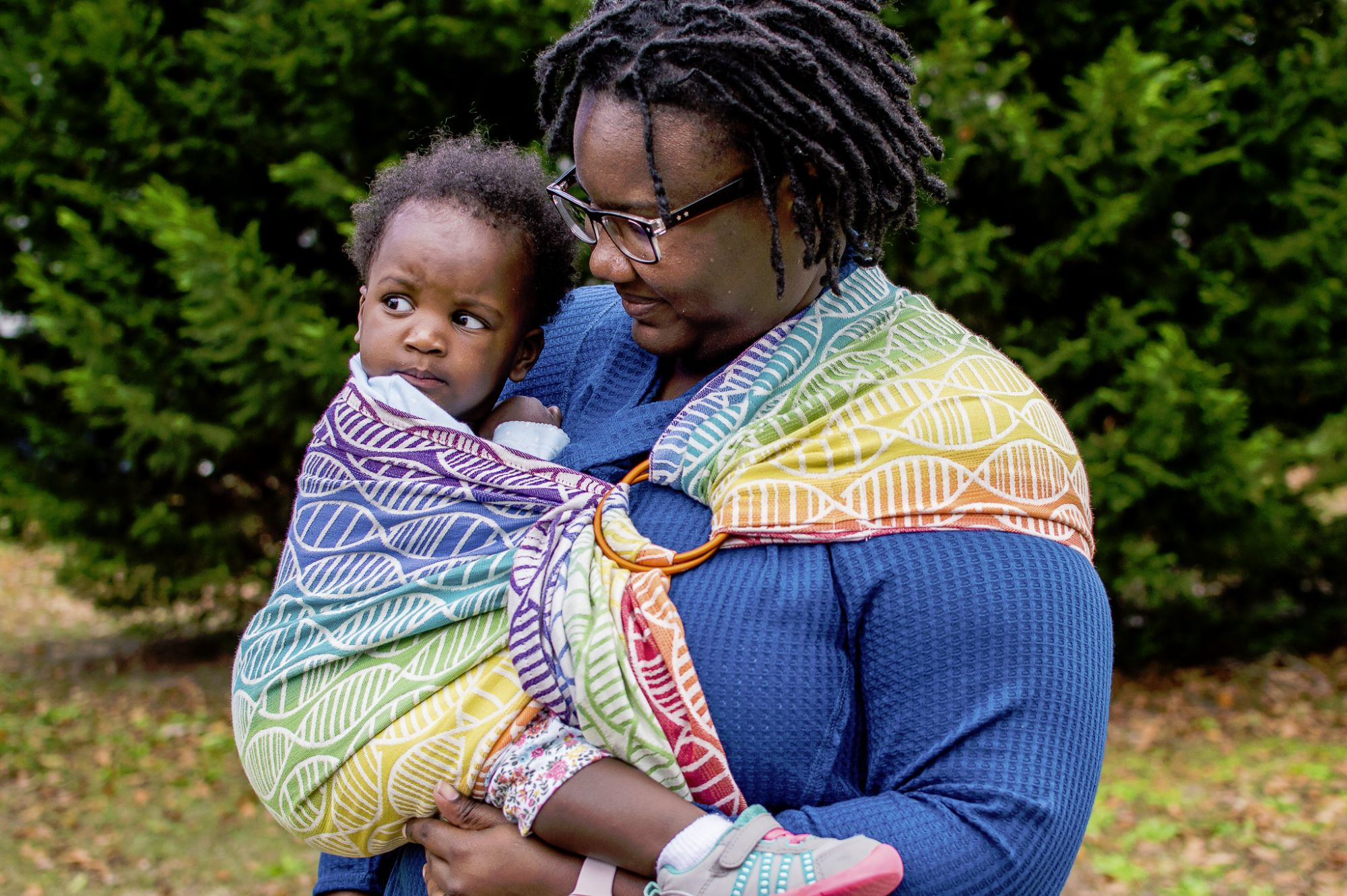 Photographer Brittany Brown Marsh with her daughter, wearing a Tekhni exclusive Bios Spectrum